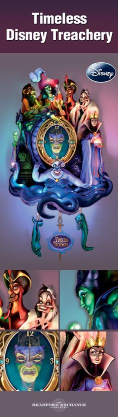 They're oh-so-good and being oh-so-bad! Isn't it time you reacquaint yourself with some of Disney's most infamous villains? This sculptural cuckoo clock features 7 of the best of the worst, including Maleficent, Scar and Captain Hook, captured amidst eerie lights and a villainous Disney soundtrack.