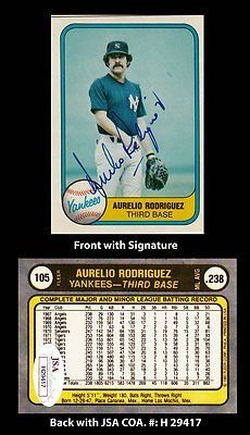 Aurelio Rodriguez Signed 1981 Fleer #105 New York Yankees Trading Card JSA COA . $40.00. Major League Third BasemanAurelio RodriguezHand Signed 1981 Fleer #105 Trading CardRodriguez Played For:California Angels 1967-1970Washington Senators 1970Detroit Tigers 1971-1979San Diego Padres 1980New York Yankees 1980-1981Chicago White Sox 1982-1983Baltimore Orioles 1983Rodriguez died in 2000 at the age of 52.WONDERFUL AUTHENTIC AURELIO RODRIGUEZ BASEBALL COLLECTIBLE!!...