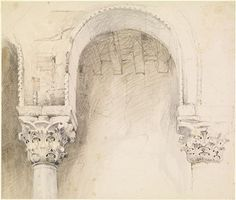 Arches and Capitals, John Ruskin  1849 – 1852 Cool Drawings, Drawing Sketches, Sketching, Architecture Drawings, Gothic Architecture, Building Painting, Travel Sketchbook, Building Sketch, John Ruskin