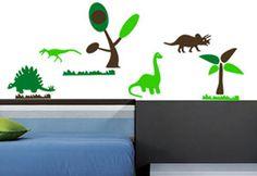 Desde la prehistoria llegan para decorar el cuarto de tu hijo este salvaje vinil modelo Dinosaurios.