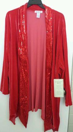 Red Shawl Sequined Velour Duster Jacket Open Tux 3x Plus Sz  Date Night Sparkle  #Roamans #Shawldusterjacket