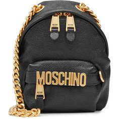 Moschino Mini Leather Backpack (€605) ❤ liked on Polyvore featuring bags, backpacks, black, chain backpack, mini leather backpack, genuine leather backpack, mini leather bag and leather rucksack