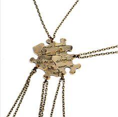 Puzzle Necklace 5 Pieces Of Bronze Necklace Pendant Necklace