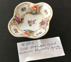 Oval-like Dresden Salt with Florals and Gold Trim. Salt Cellars, Antique Glass, Salts, Dresden, Serving Bowls, Florals, Dips, China, Antiques