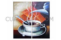 cuadro naranja taza de café