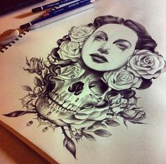 See more Beauty and the skull tattoo ideas