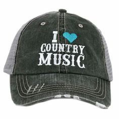 ae1dfa6d0b0 Katydid Collection Gray   Turquoise  I Love Country Music  Trucker Hat