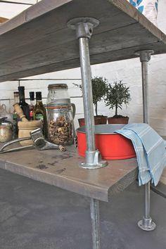 Reclaimed Grey Washed Scaffolding Board Kitchen Island