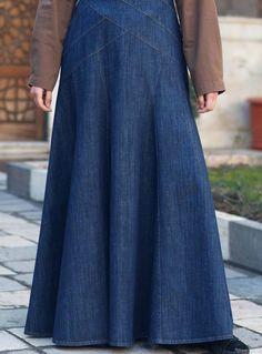 SHUKR USA   Denim Geometric Flared Skirt
