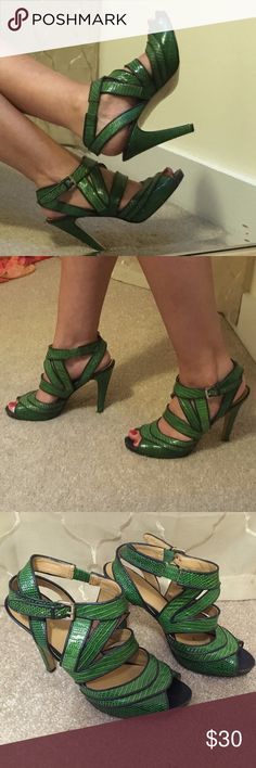 Nine West Green Strappy Heels Size: 8.5 Nine West Heels Size: 8.5  Green & black strappy heels. Signs of wear on back of heels shown in picture #6 Nine West Shoes Heels