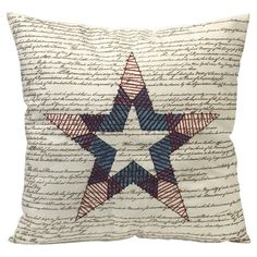 sale price -- Cotton pillow with a script motif. Product: PillowConstruction Material: CottonColor: Red, white and blueFeatures: Beautiful script typographyGreat for patriotic decorInsert included Dimensions: 18 x Patriotic Quilts, Bed In A Bag, Patriotic Decorations, Cotton Pillow, Joss And Main, Comforter Sets, Accent Pillows, Ring Pillows, Decorative Throw Pillows
