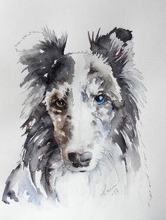 It is Sunday (Monday (-; )  and time for me to share a new watercolor. This time I have another pet portrait. This is of my dear bloggie fri...