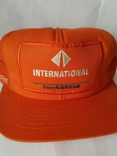 0852c98d7 Vintage International Navistar Orange Mesh Trucker Snapback Hat Cap.  Vintage PatchesTeam CapBall ...