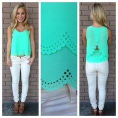 mint scallop cut sleeveless blouse. Website with cute clothes and blouses for cheap