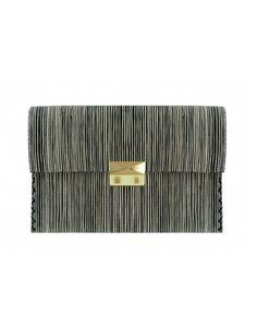 Woman :: Bags :: Clutches :: Aina Day - Striped Silk and Raffia Clutch
