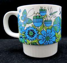 vintage Coffee Mug Cup Blue Green Butterflies Flowers Dragonflies Bees