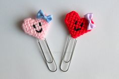 Set segnalibri a forma di cuore, accessori planner, regalo per lettori, decorazioni per agende, segnalibro fatto a mano, San Valentino by Ricamoeplasticcanvas on Etsy
