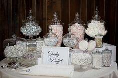 Wedding candy buffet table - silver, grey and white candy ta Buffet Dessert, Lolly Buffet, Candy Buffet Tables, Dessert Bars, Buffet Ideas, Bar Ideas, Wedding Candy Table, Wedding Desserts, Sweetie Table Wedding