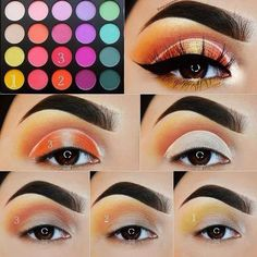 Step by step easy eye makeup pictorial Colorful eyeshadow makeup tutorial. Step by step easy eye makeup pictorial. Step by step easy eye makeup pictorial. Colorful Eye Makeup, Simple Eye Makeup, Cute Makeup, Colorful Eyeshadow, Gorgeous Makeup, Makeup Looks, Makeup Set, Green Eyeshadow, Creamy Eyeshadow