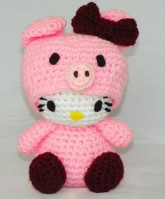Hello Kitty Doll  Hello Kitty Piggie Crocheted by hookmiup on Etsy, $30.00