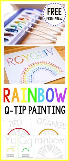 Q-Tip Painting Printables Rainbow Q-Tip Painting. Great for fine motor, letter writing and color practice.Rainbow Q-Tip Painting. Great for fine motor, letter writing and color practice. Rainbow Activities, Rainbow Crafts, Art Therapy Activities, Motor Activities, Ocean Crafts, Kindergarten Art, Preschool Activities, Vocabulary Activities, Preschool Phonics
