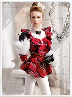 Morpheus Boutique  - Red Plaid Zipper Ruffle Shoulder Long Sleeve Holiday Jacket