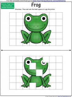 Grid Drawings Freebie for visual motor skills, spatial reasoning and visual closure skills