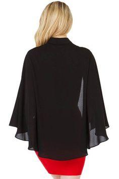 Black Button Up Cape Style Top @ Womens Shirts & Blouses,Women Shirts,Cheap Button Down Shirts,Long Sleeve Shirts,Blouses,Peasant Blouse,Cheap Blouse,Sheer Shirts,Womens Denim Shirts,Fashion Blouse,Sexy Shirt,Collar Shirt,V Neck Blouse,Polo Shirt,Floral Print Shirt,White Blouse