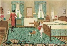 This wonderful 1928 bedroom showcasing its Congoleum manufactured linoleum rug.  Love the green in this advertisement.