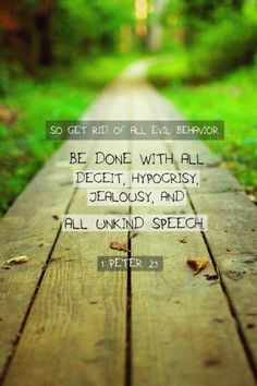 So get rid of all evil behavior. Be done with all deceit, hypocrisy, jealousy, and all unkind speech. 1 Peter 2:1