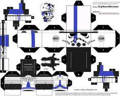 My custom version Cubeecraft / Papercraft cutout template of a Stormtrooper Commander from Star Wars. (All My Custom Cubeecraft Templates are made on MSPaint. and The 3D illustrations on the free G...