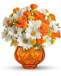 Happy as a country sunrise, this delightful bouquet features orange roses and white daisies in orange cut-glass votive bowl. When the flowers are gone, they can light a candle and have indoor sunshine forever. Amazing Flowers, Silk Flowers, Spring Flowers, Beautiful Flowers, Flowers Vase, Yellow Flowers, Beautiful Flower Arrangements, Floral Arrangements, Creative Flower Arrangements