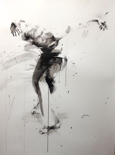 "ewa hauton ""dancer"" 150x100cm ink on paper https://www.facebook.com/ewahauton/ #danseur #ink #paper #encre"