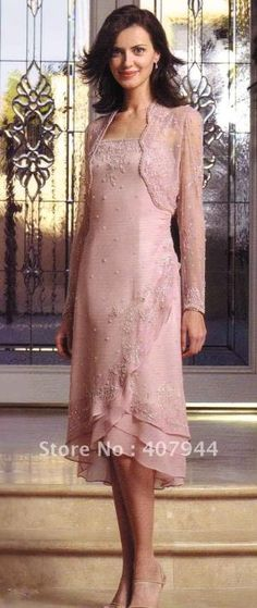 Hot sell pink CHIFFON A line tea length beadiing mother of the bride dress /mother dress with long sleeves jacket-in Mother of the Bride Dresses from Apparel & Accessories on Aliexpress.com by petra