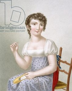 The Embroiderer, engraved by Duthe, c.1816 (coloured engraving)
