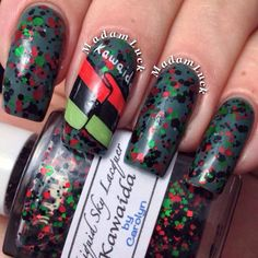 Kawaida is a glitter bomb with green, red and black glitter. Representing the seven principles of Kwanzaa: Unity, Self-Determination, Collective Work and Responsibility, Purpose, Creativity, and FaithSwatch is by Amanda, @Amanda S on Instagram, and Madamluck on Youtube, with great nail art showing the colors of Kwanzaa. Swatch is one generous coat over a dark green base. All items are handmade, therefore individual variations can occur between batches. Color may vary du...