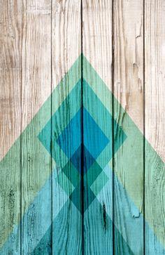 Aztec tribal chevron design on wood background blue mint green Art Print by Mercedes   Society6