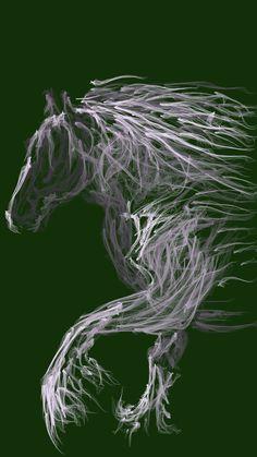 Again Irish Cob horse Spirit in flowpaper-art