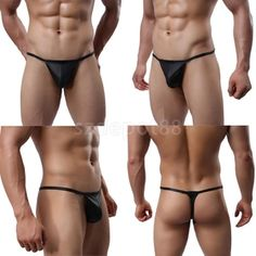 Celana Dalam Pria G String Shino PU Leather Black