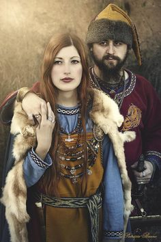 """Portrait of a viking couple... The real look, and not like the ones in the american Shithead Series """"Vikings""""!!! https://www.flickr.com/photos/gashay/10447399165/in/pool-viking_culture/"""