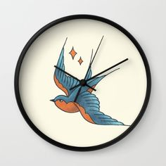 Wall Clock - Swallow Tattoo - Colour - Terry Fan