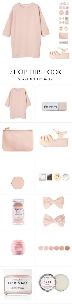 """""""Pink Monochrome"""" by for-the-love-of-pink ❤ liked on Polyvore featuring Monki, H&M, Henri Bendel, Korres, Forever 21, Eos, Deborah Lippmann, Herbivore Botanicals and Kendra Scott"""