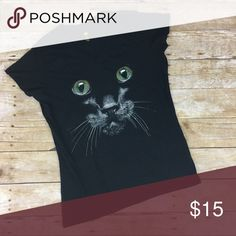 Cat Face V Neck Short Sleeve Tee Halloween Cat Face V Neck Short Sleeve Graphic Tee. Great for Halloween. But really any cat lover can wear year round! 100% cotton. About a 36 inch bust and 25 inches long. Tops Tees - Short Sleeve