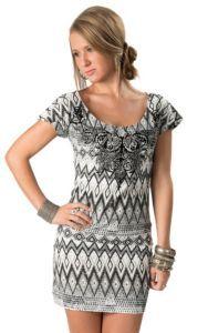 Rock & Roll Cowgirl Women's White & Black Aztec Print with Fleur De Lis Short Sleeve Dress | Cavender's