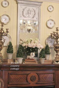 FRENCH COUNTRY COTTAGE~ bedroom mantel