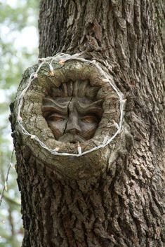 Pierre Carré Arbre Greenman visage Wiccan Sculpture Décoration De Jardin Plaque Murale Art