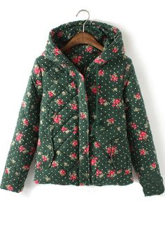 Green Floral Long Sleeve Cotton Blend Padded Coat