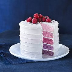 Idea for a layer cake in pink and blue for baby shower