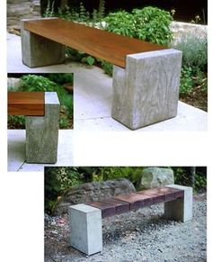 Banco de hormigón y madera - Concrete and wood bench.
