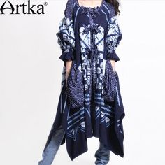 Artka Women'S Spring Noverlty Fashion Patch Work Sashes  Tie-Dyeing Irregular Bottom Expansion Full Cotton Trench  A04300 $71,62